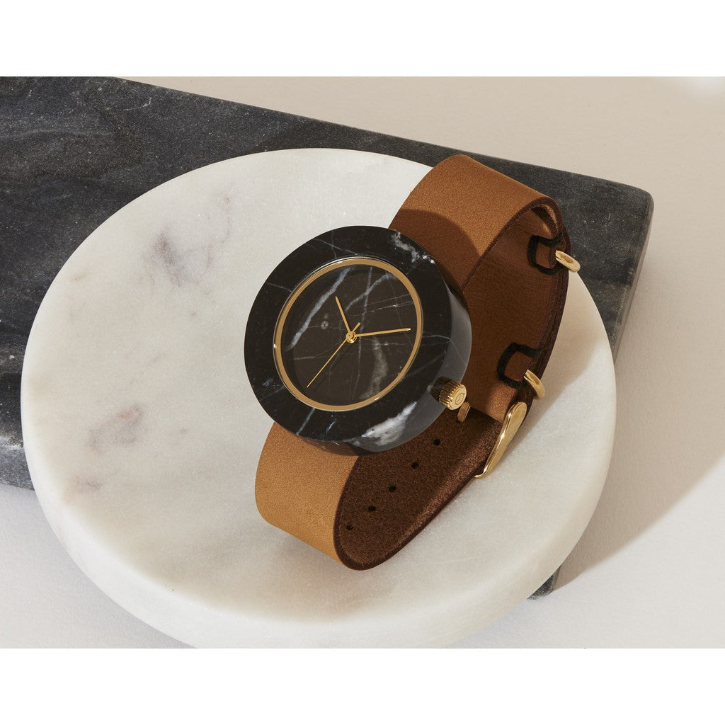 Analog Mason Genuine Black Marble Circular Watch | Tan Strap gt-bo