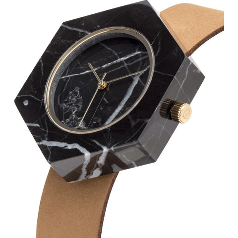Analog Mason Genuine Black Marble Hex Watch | Tan Strap gt-bx