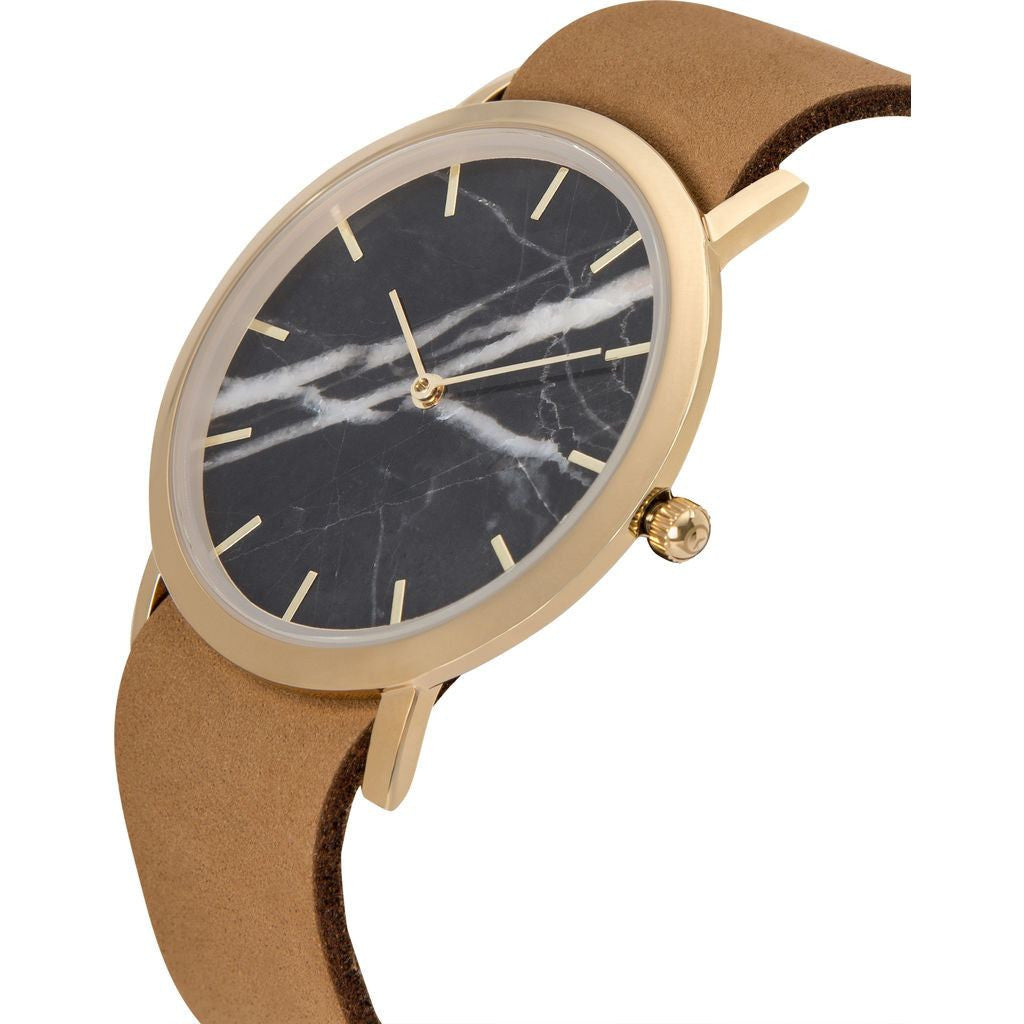 Analog Classic Genuine Black Marble Watch | Tan Strap GT-CB