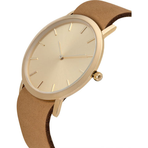 Analog Classic Gold Plated Watch | Tan Strap GT-CG