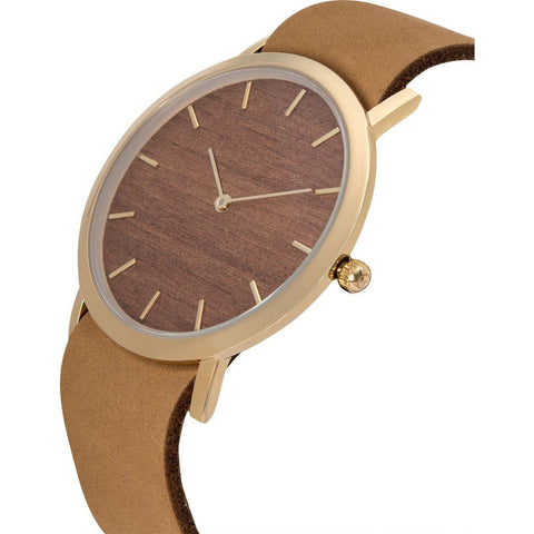 Analog Classic Makore Wood Watch | Tan Strap GT-CM