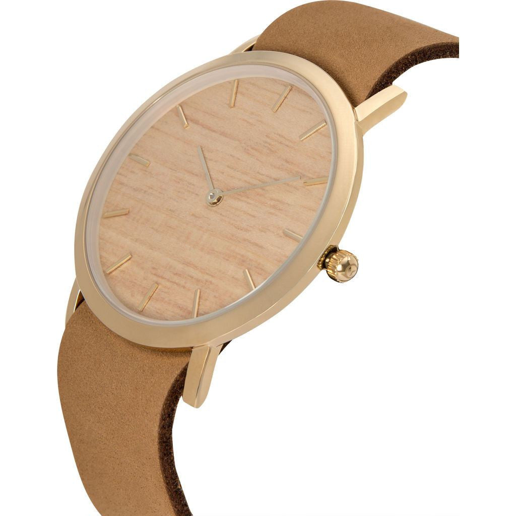 Analog Classic Silverheart Wood Watch | Tan Strap GT-CS