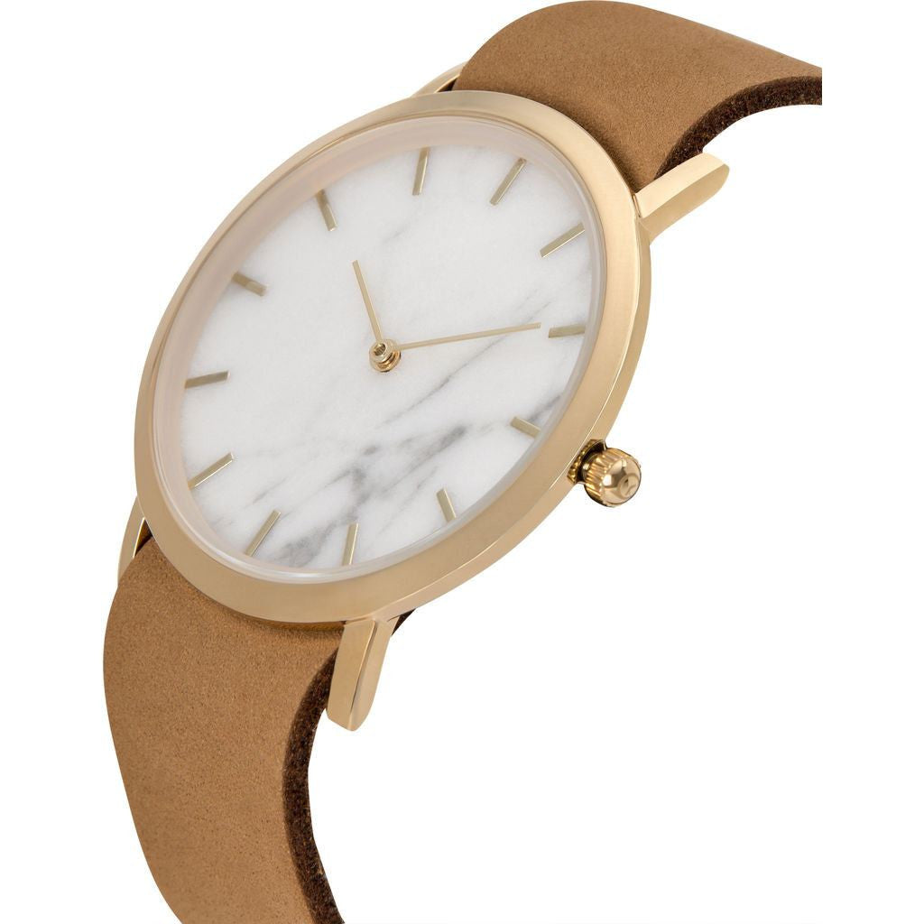 Analog Classic Genuine White Marble Watch | Tan Strap GT-CW
