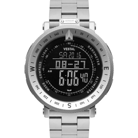 Vestal Guide 3-Link Metal Watch | Silver/Silver/Negative/Matte