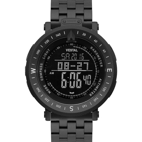 Vestal Guide 5-Link Metal Watch | Black/Black/Negative