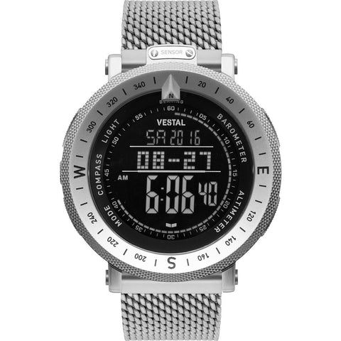 Vestal Guide Metal Watch | Silver/Silver/Negative/Mesh