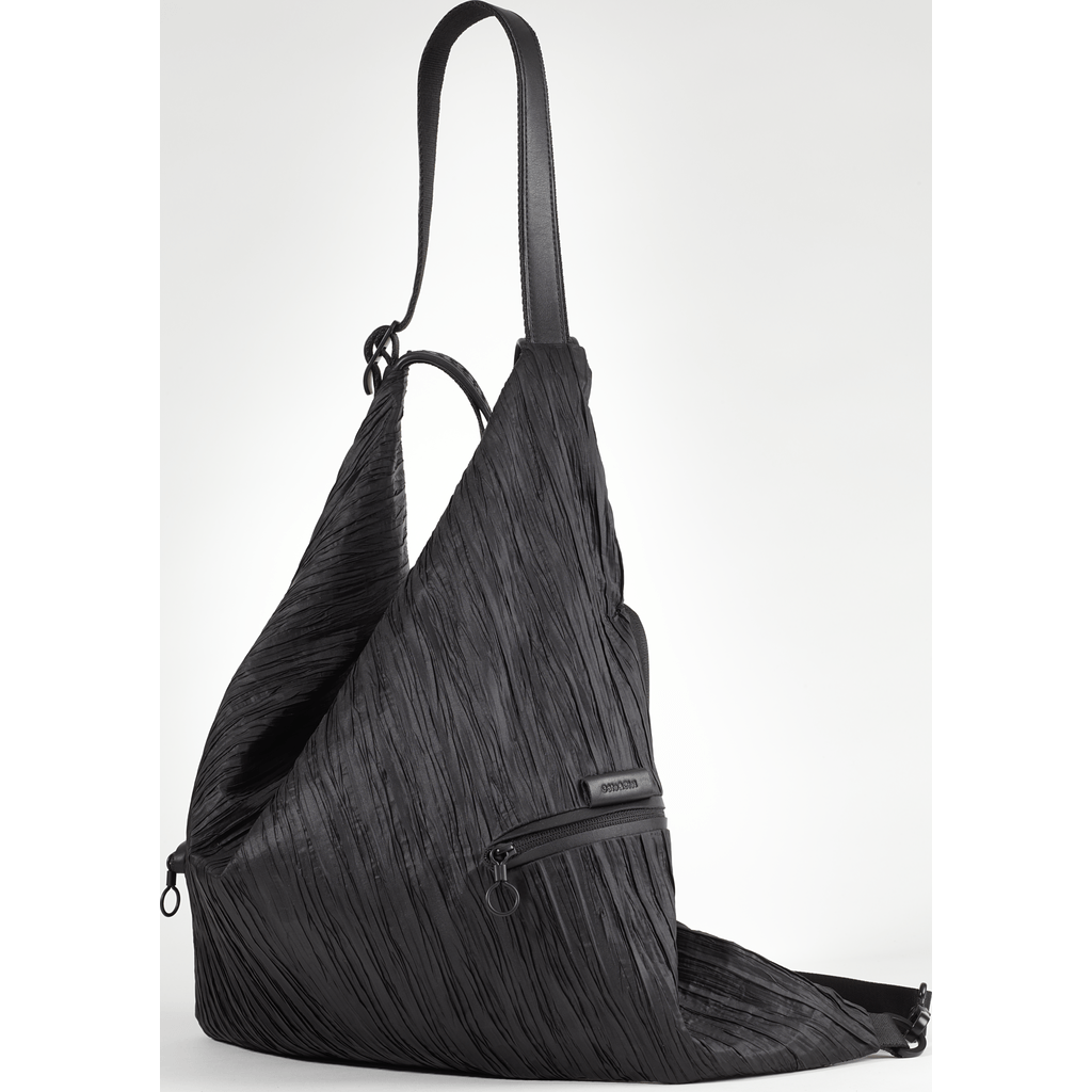 Cote et Ciel Ganges Medium Poly Plisse Backpack | Sand Black 28444
