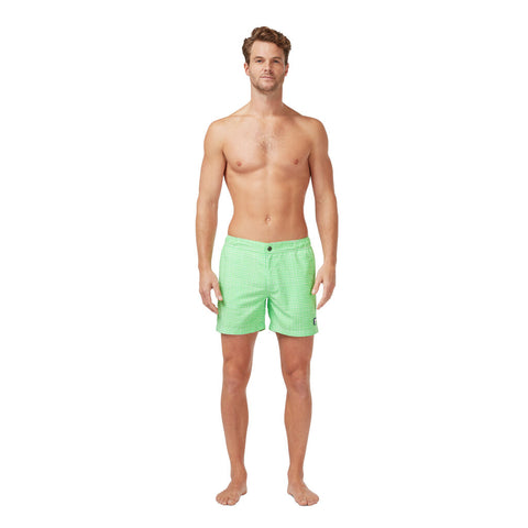 Tom & Teddy Men's Gingham Contemporary Swim Trunk | Green