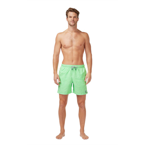 Tom & Teddy Men's Gingham Swim Trunk | Green
