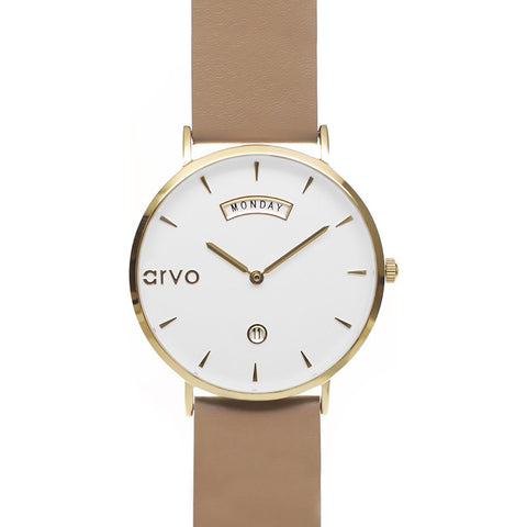 Arvo White Awristacrat Watch | Gold/Nude AWGND36