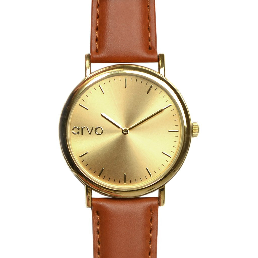 Arvo Gold Time Sawyer Brown Band Watch | Gold/Brown GTSBR