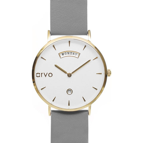 Arvo White Awristacrat Watch | Gold/Gray