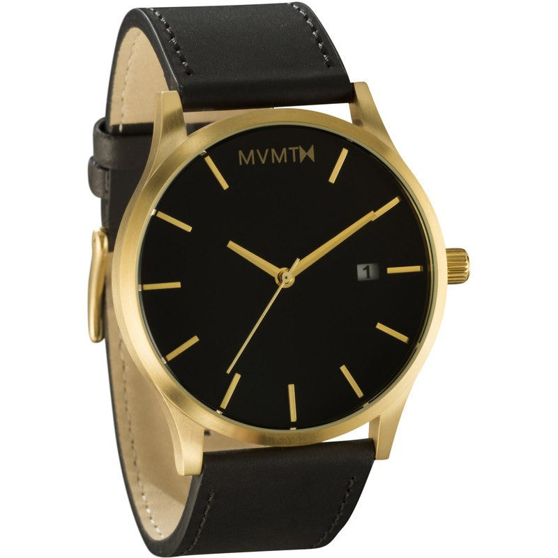 MVMT Classic Watch | Black/Gold Leather