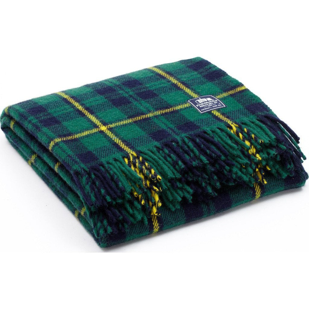 Faribault Pak-a-Robe Plaid Packable Wool Throw | Itasca Green 17276 50x60