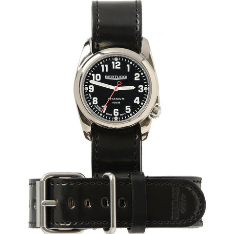 Bertucci Gloss Black Titanium Heritage Watch | Apex Black Shell Cordovan Leather H12104
