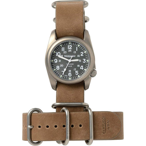 Bertucci A-2T Vintage Exploration Drab Field Watch | Brown Leather