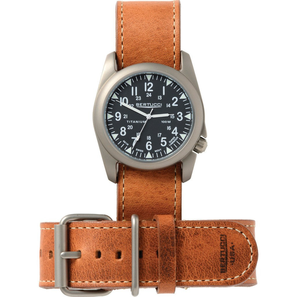 Bertucci Matte Black Titanium Heritage Watch | American Tan Leather H13458