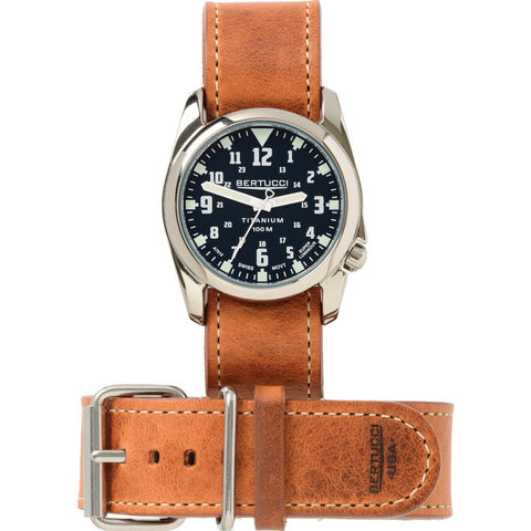 Bertucci Midnight Blue/White Titanium Heritage Watch | American Tan Leather H13460