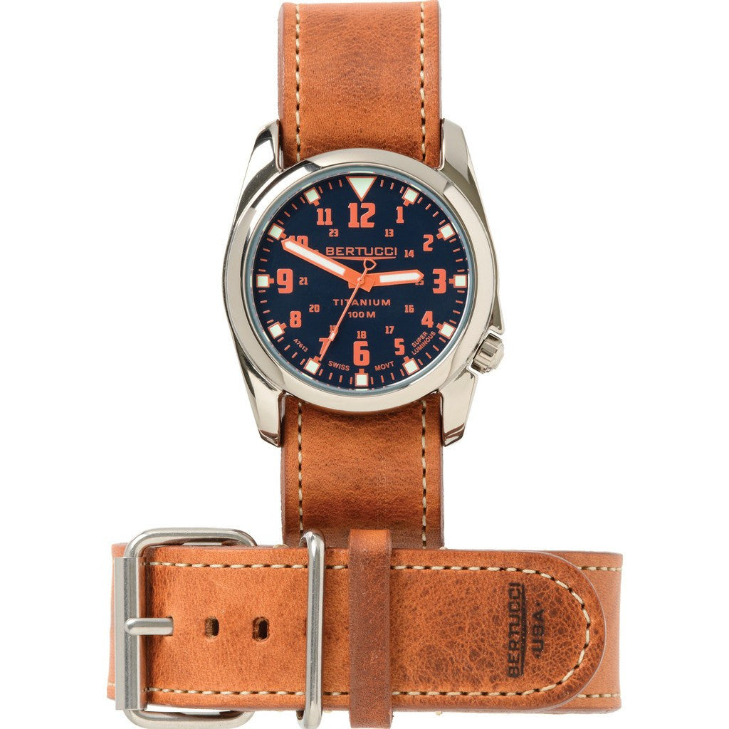 Bertucci Midnight Blue/Int'l Orange Titanium Heritage Watch | American Tan Leather H13461