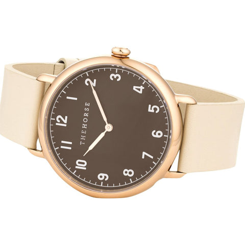 The Horse Polished Rose Gold Watch | Chocolate/Ivory H8