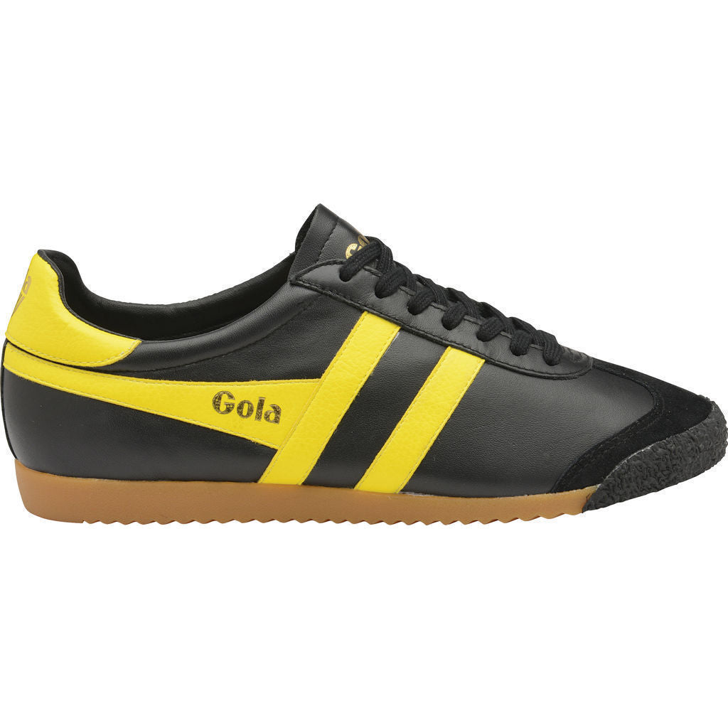 Gola Men's Harrier 50 Leather Sneakers | Black/Yellow