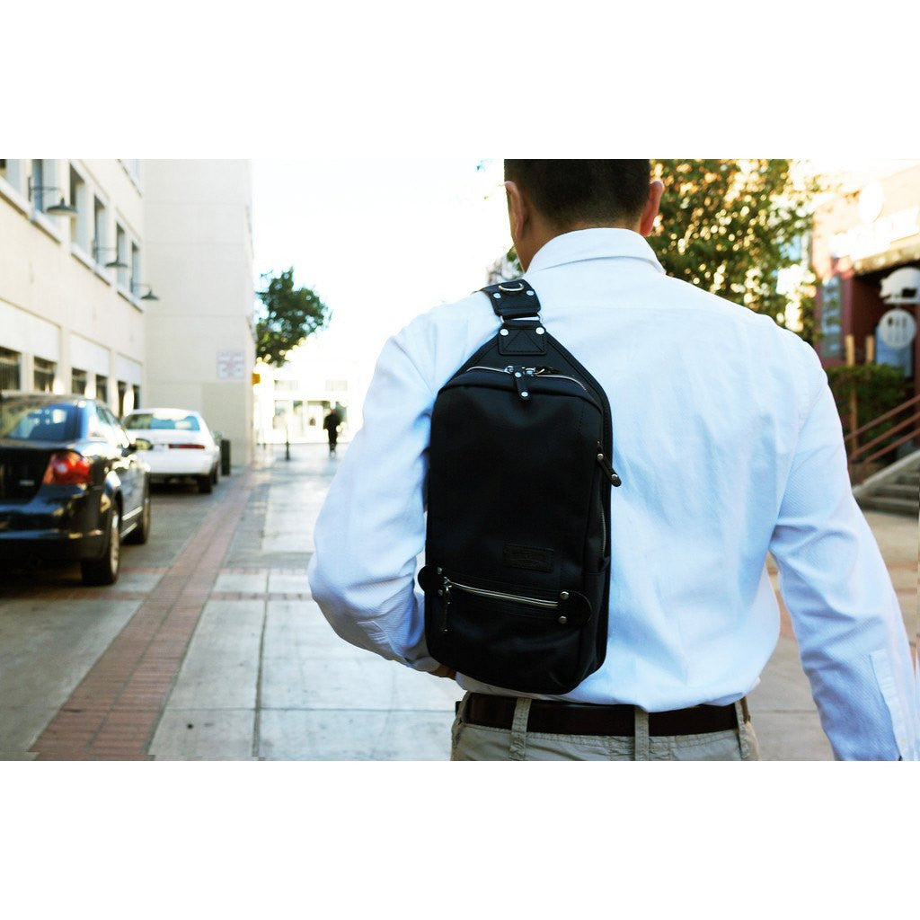 It is an image of Delicate Harvest Label Cordura Sling Pack