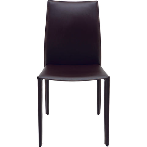 Nuevo Living Sienna Dining Chair | Brown Leather & Contrast Stitching