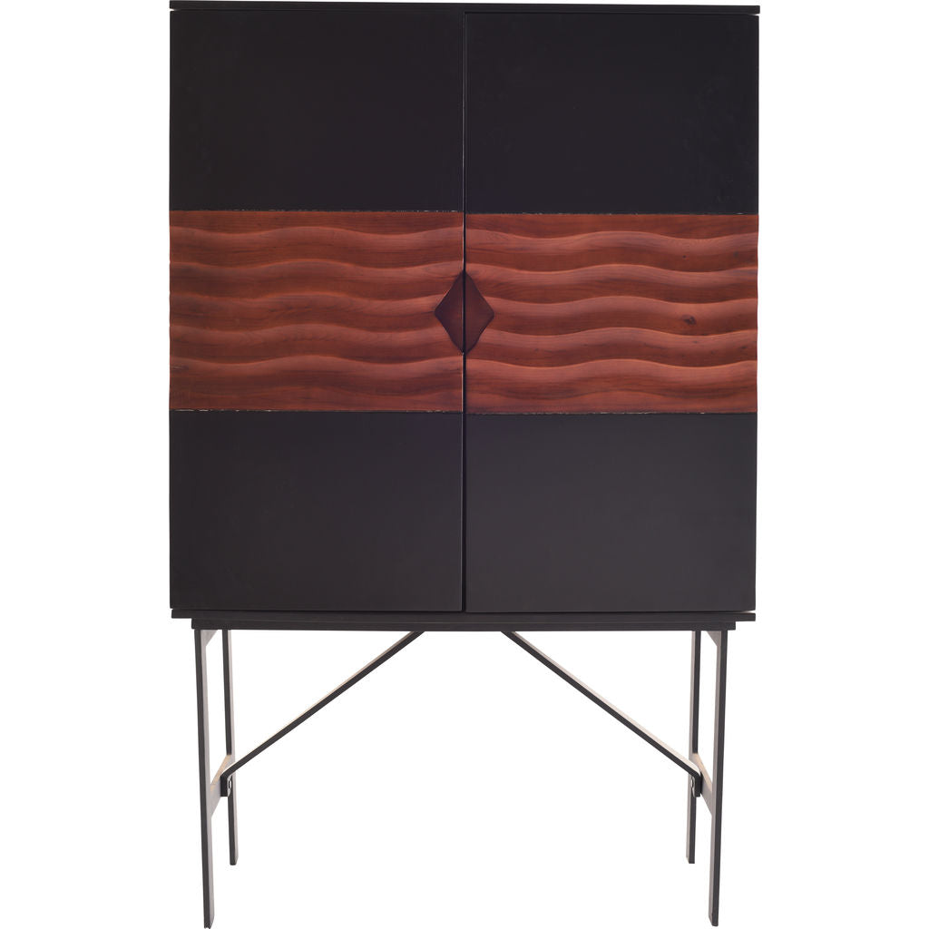 ... Nuevo Living Swell Bar Cabinet | Black / Walnut / Metal Base HGPM107 ...  sc 1 st  Sportique & Nuevo Living Swell Bar Cabinet Black / Walnut / Metal Base - Sportique