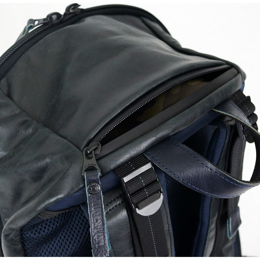 Harvest Label Leather Bomber Backpack | Navy HHC-1017-NVY