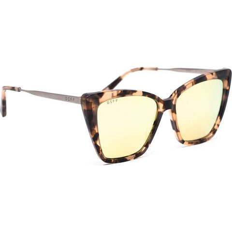 DIFF Eyewear Becky II Sunglasses | Himalayan Tortoise + Taupe Flash Mirror Polarized