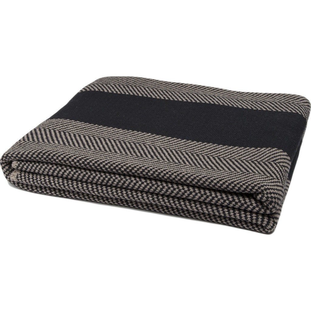 in2green Herringbone Stripe Eco Throw | Black/Hemp BLHS12