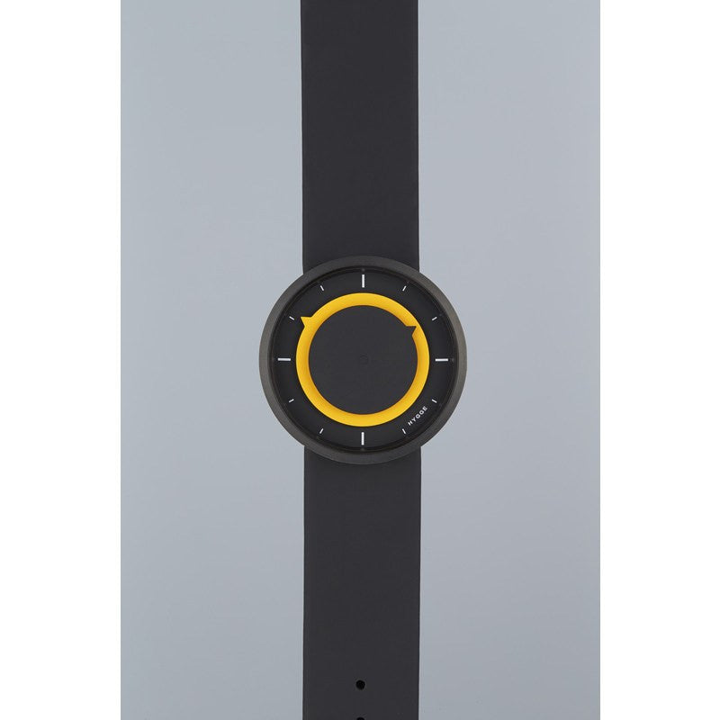 Hygge 3012 Series Black/Yellow Watch | Leather