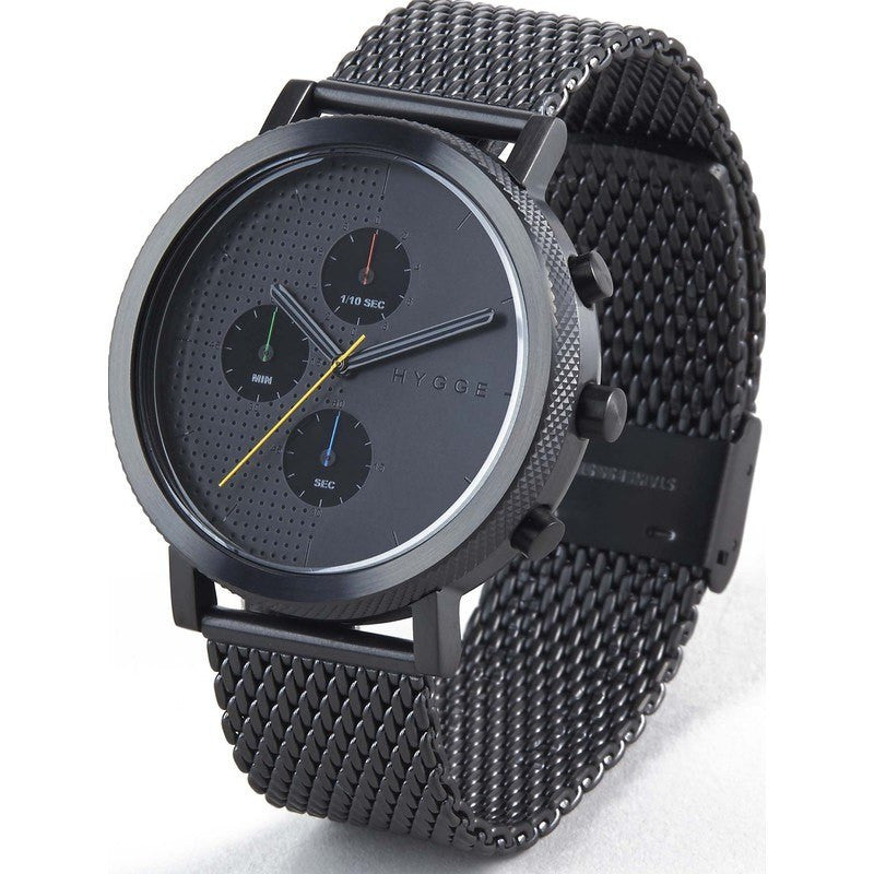 Hygge 2204 Black/Black Chronograph Watch | Black Steel Mesh