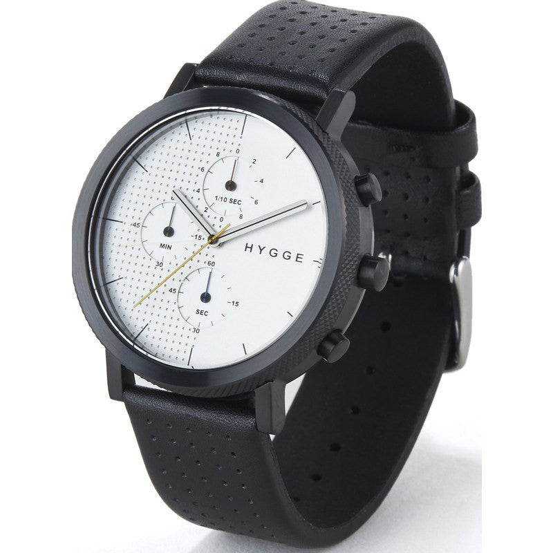 Hygge 2204 Black/Silver Chronograph Watch | Leather