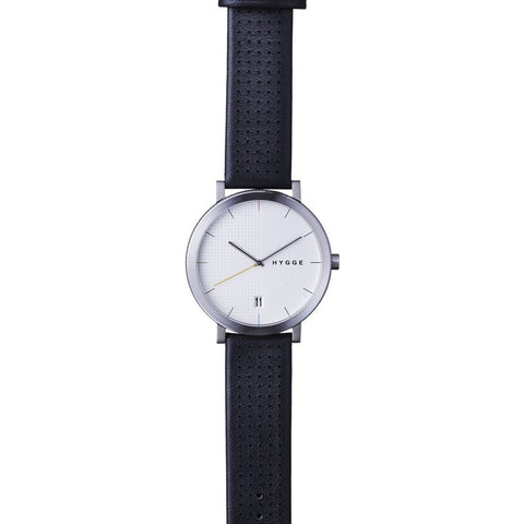 Hygge 2203 Silver Watch | Black Leather