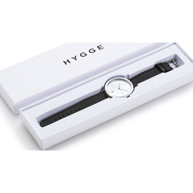 Hygge 2203 Silver Watch | Black Leather MSL2203C(BK)