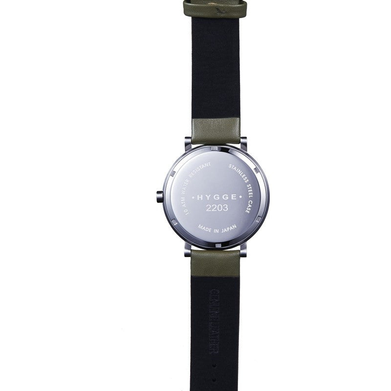 Hygge 2203 Silver Watch | Khaki Leather MSL2203C(KA)