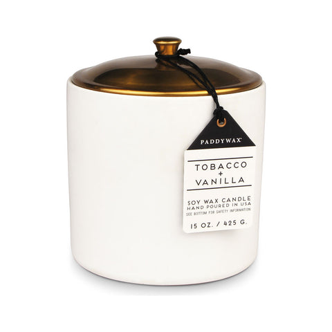 Paddywax Hygge 3 Wick Candle in Ceramic Vessel | Tobacco + Vanilla HY17