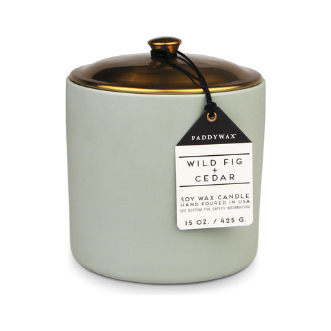 Paddywax Hygge 3 Wick Candle in Ceramic Vessel | Wild Fig + Cedar HY15