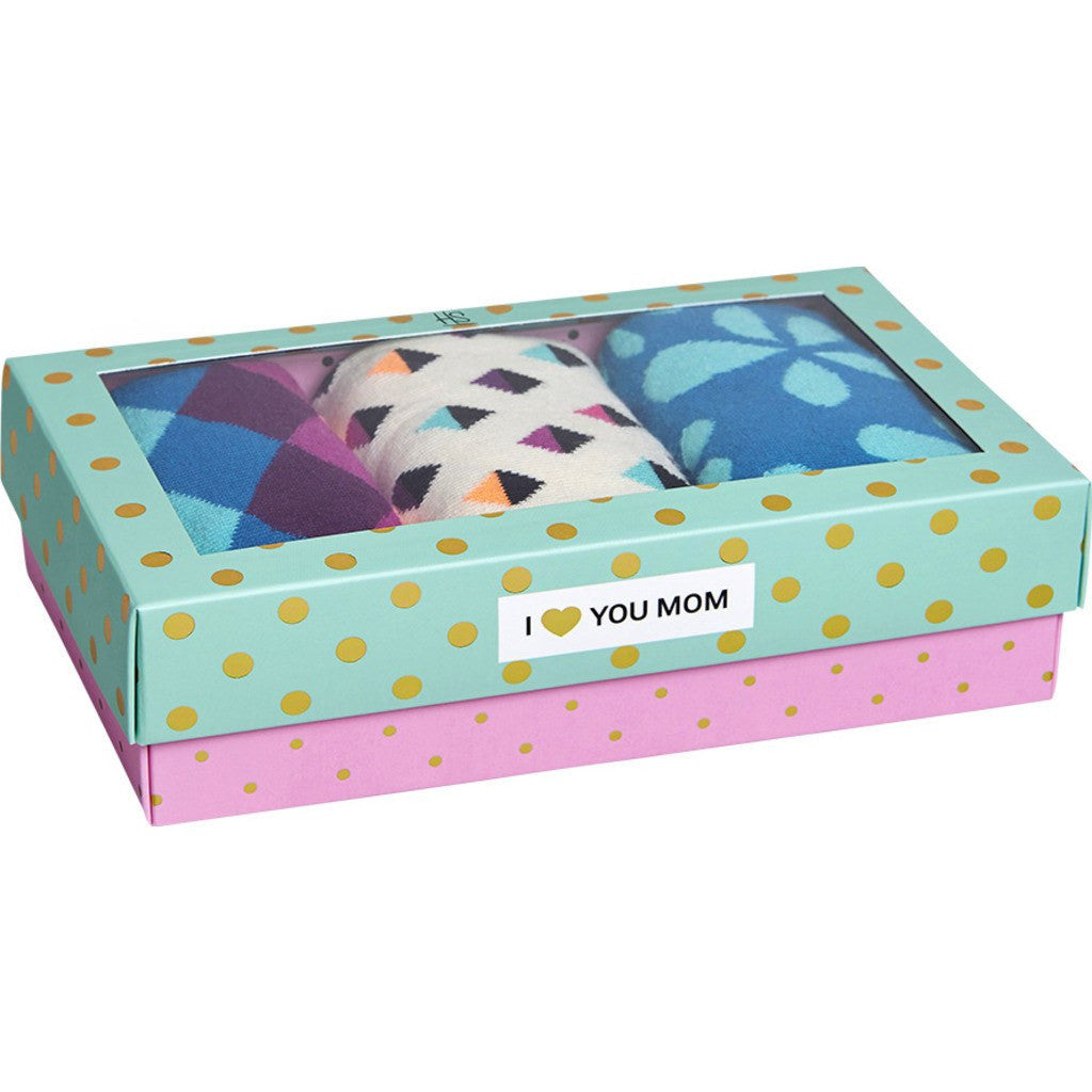 Happy Socks I Love Mom Socks 3 Pack Box Set | Pastel Combo