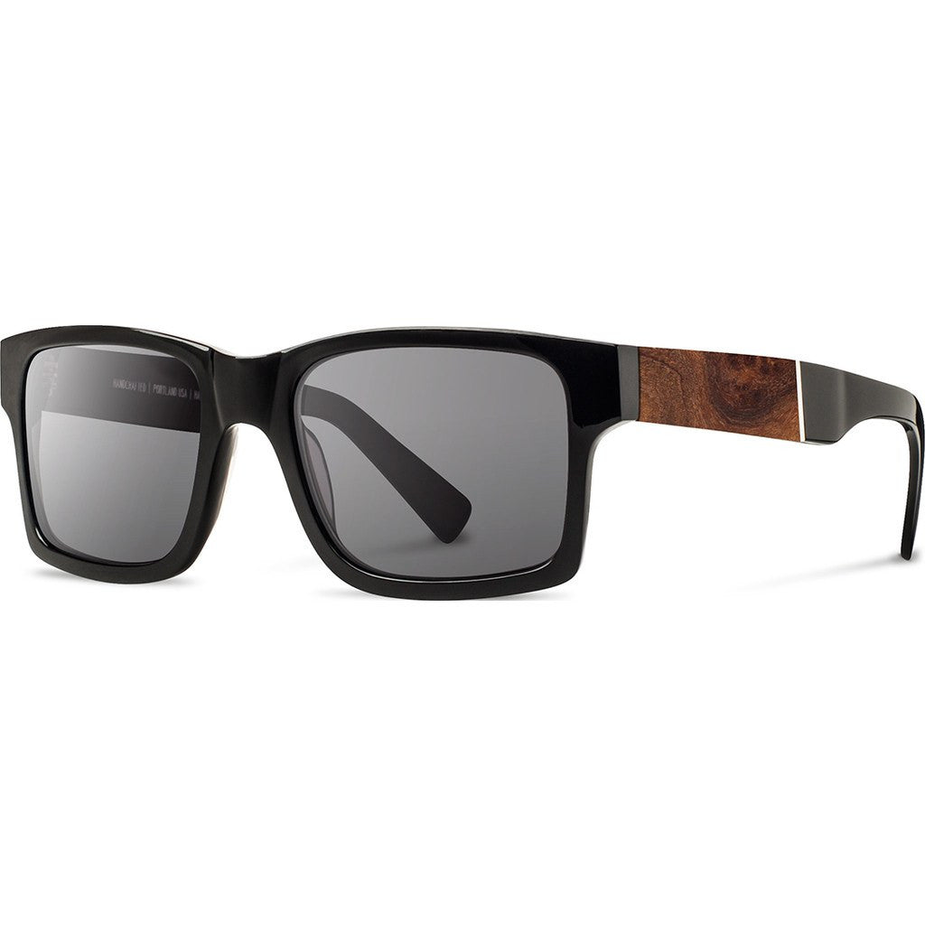 Shwood Haystack Acetate Sunglasses | Black & Elm Burl / Grey Polarized WAHBELGP