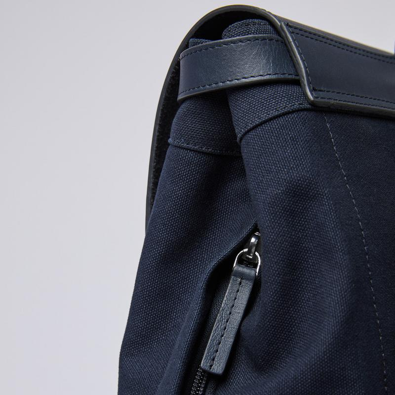 Sandqvist Hege Backpack - Navy with Navy Leather SQA1228