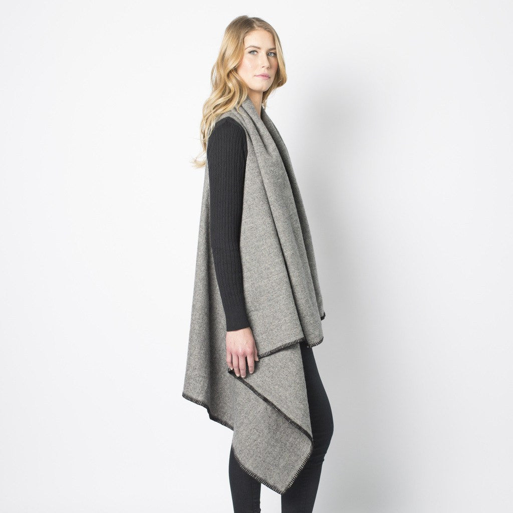 Faribault Women's Herringbone Wool Blanket Vest | Charcoal 14831 One Size