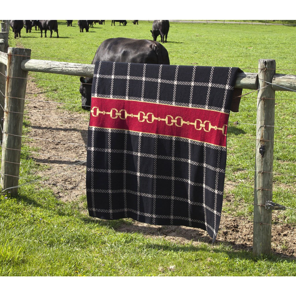 in2green Horse Bit Plaid Eco Throw | Black/Pom/Straw BL01HBP6