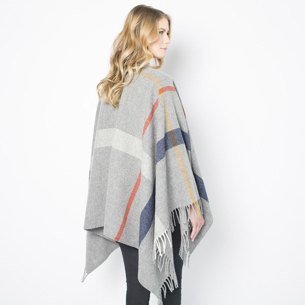 Faribault Huntley Wool Cape | Heather Gray 14862 One Size