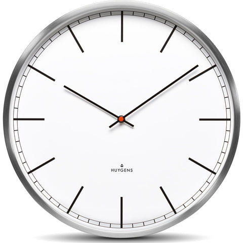 Huygens One25 White Index Wall Clock | Stainless Steel HU10001
