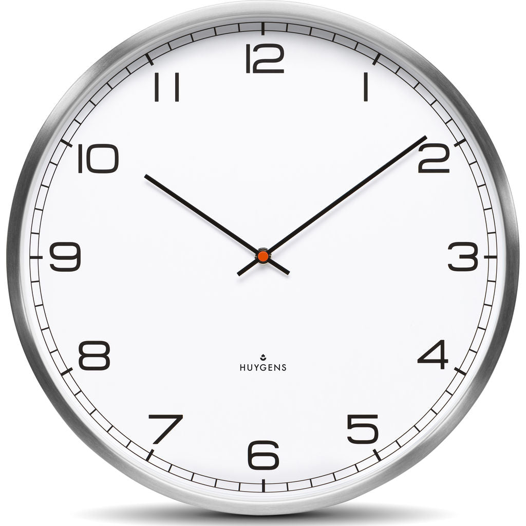 Huygens One25 White Arabic Wall Clock | Stainless Steel HU10011
