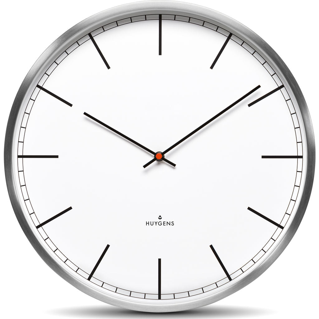 Huygens One45 White Index Wall Clock | Stainless Steel HU10003