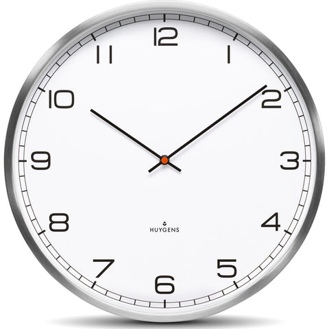 Huygens One45 White Arabic Wall Clock | Stainless Steel HU10013