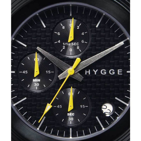 Hygge 2312 Series Chronograph Black/Black Watch | Leather